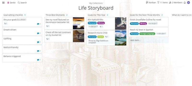 Zenkit vision board: use Zenkit to create your life plan